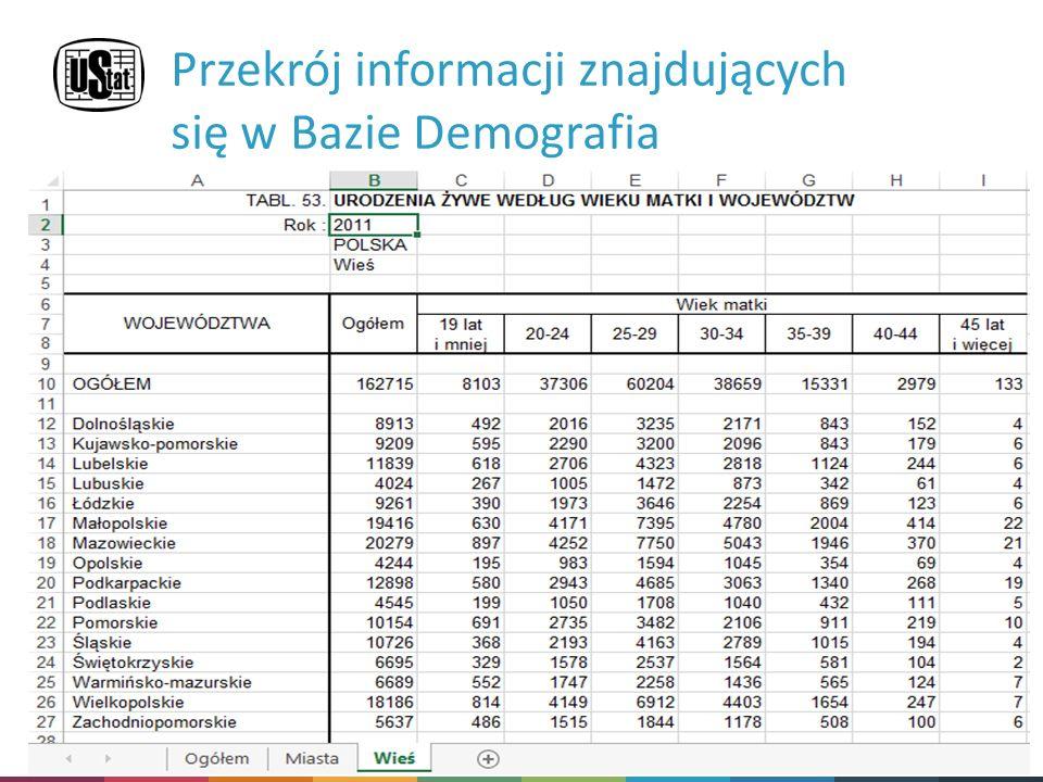 System Edukacji Statystycznej  Dane prezentowane są w postaci tablic o ustalonym układzie Przekrój informacji znajdujących się w Bazie Demografia