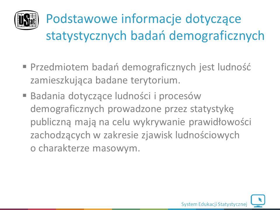 System Edukacji Statystycznej  Przedmiotem badań demograficznych jest ludność zamieszkująca badane terytorium.