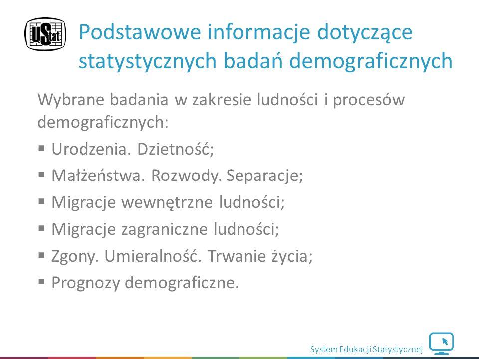 System Edukacji Statystycznej Wybrane badania w zakresie ludności i procesów demograficznych:  Urodzenia.