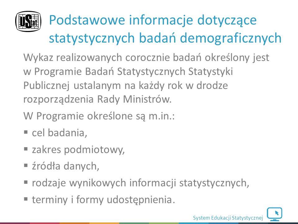 System Edukacji Statystycznej Wykaz realizowanych corocznie badań określony jest w Programie Badań Statystycznych Statystyki Publicznej ustalanym na każdy rok w drodze rozporządzenia Rady Ministrów.