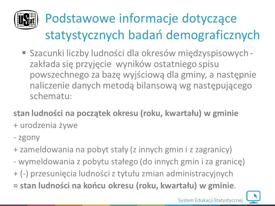 System Edukacji Statystycznej  Szacunki liczby ludności dla okresów międzyspisowych - zakłada się przyjęcie wyników ostatniego spisu powszechnego za bazę wyjściową dla gminy, a następnie naliczenie danych metodą bilansową wg następującego schematu : stan ludności na początek okresu (roku, kwartału) w gminie + urodzenia żywe - zgony + zameldowania na pobyt stały (z innych gmin i z zagranicy) - wymeldowania z pobytu stałego (do innych gmin i za granicę) + (-) przesunięcia ludności z tytułu zmian administracyjnych = stan ludności na końcu okresu (roku, kwartału) w gminie.