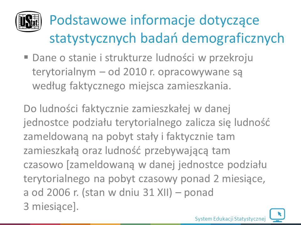 System Edukacji Statystycznej  Dane o stanie i strukturze ludności w przekroju terytorialnym – od 2010 r.