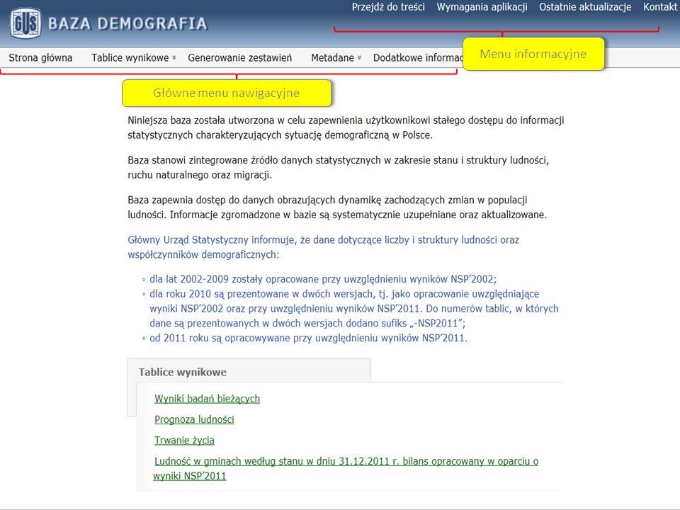 System Edukacji Statystycznej Główne menu nawigacyjne Menu informacyjne