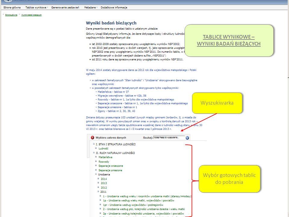 System Edukacji Statystycznej Wybór gotowych tablic do pobrania Wyszukiwarka TABLICE WYNIKOWE – WYNIKI BADAŃ BIEŻĄCYCH TABLICE WYNIKOWE – WYNIKI BADAŃ BIEŻĄCYCH