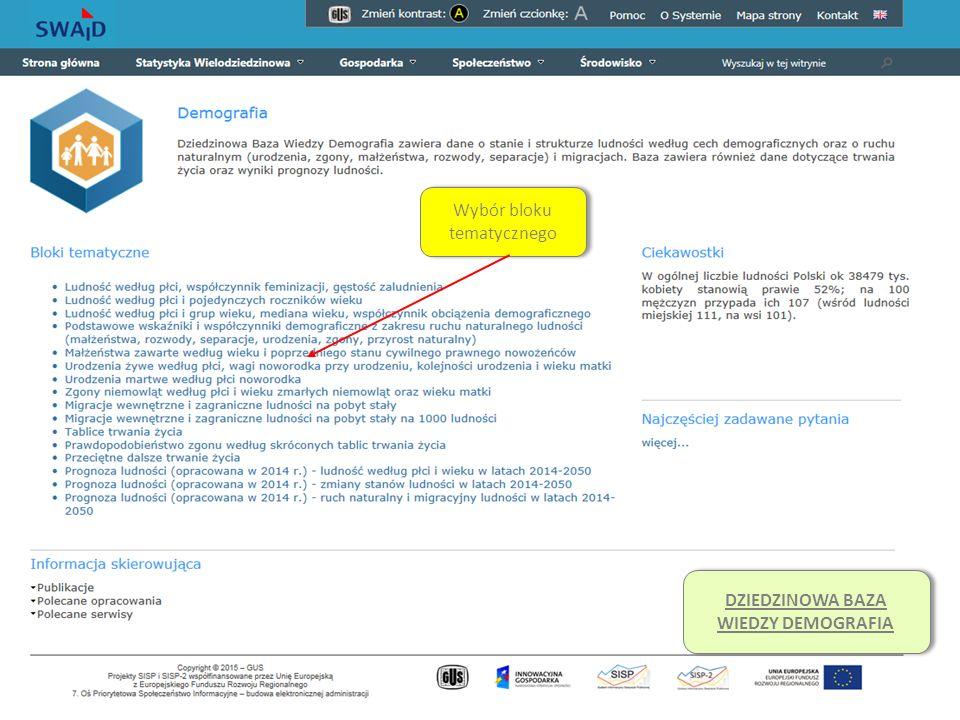System Edukacji Statystycznej Wybór bloku tematycznego DZIEDZINOWA BAZA WIEDZY DEMOGRAFIA