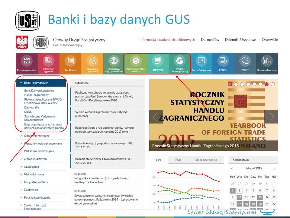 System Edukacji Statystycznej Banki i bazy danych GUS