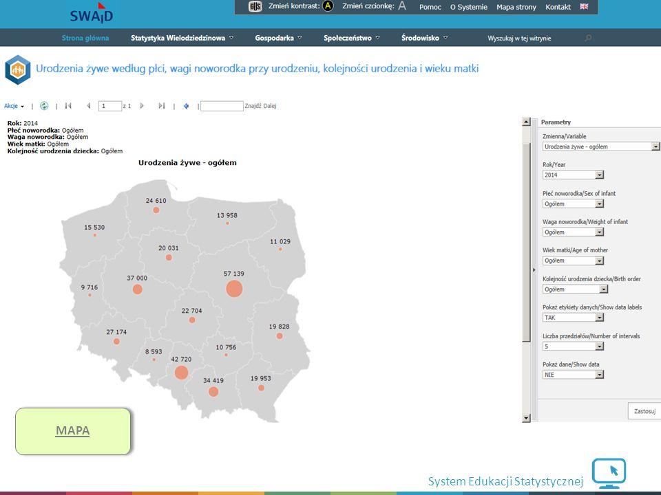 System Edukacji Statystycznej Funkcjonalności cd. MAPA