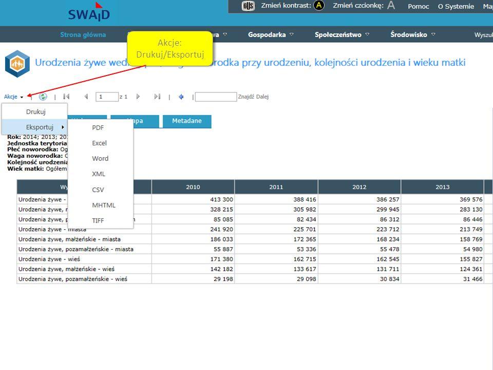 System Edukacji Statystycznej Funkcjonalności cd. Akcje: Drukuj/Eksportuj