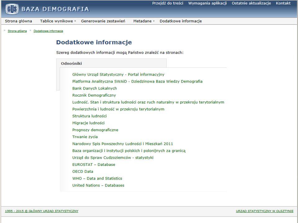System Edukacji Statystycznej  Główny Urząd Statystyczny – Portal Informacyjny  http://stat.gov.pl  Bank Danych Lokalnych  http://stat.gov.pl/bdl/app/strona.html?p_name=indeks  Urząd do Spraw Cudzoziemców – statystyki  http://www.udsc.gov.pl/Statystyki,229.html  Baza danych EUROSTAT  http://ec.europa.eu/eurostat/statistics-explained/index.php/Main_Page  Baza danych OECD  http://www.oecd.org/statistics/  Baza danych WHO  http://www.who.int/research/en/  Baza danych ONZ  http://www.un.org/en/databases/#civil Dodatkowe informacje DODATKOWE INFORMACJE