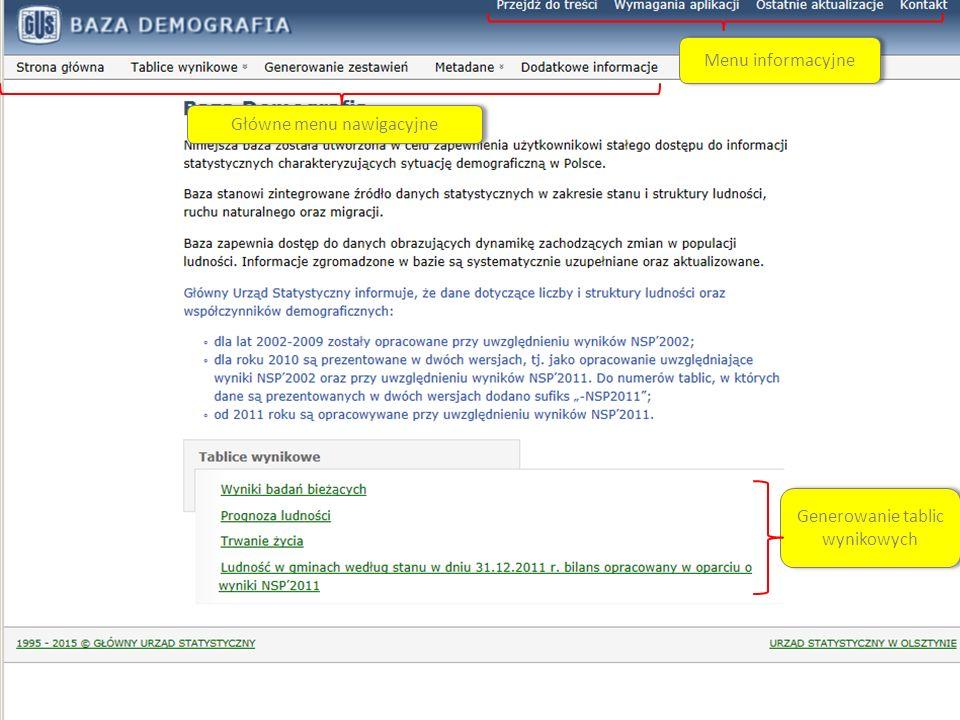 System Edukacji Statystycznej Główne menu nawigacyjne Generowanie tablic wynikowych Menu informacyjne