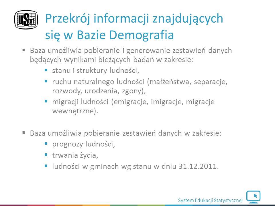System Edukacji Statystycznej  Baza umożliwia pobieranie i generowanie zestawień danych będących wynikami bieżących badań w zakresie:  stanu i struktury ludności,  ruchu naturalnego ludności (małżeństwa, separacje, rozwody, urodzenia, zgony),  migracji ludności (emigracje, imigracje, migracje wewnętrzne).