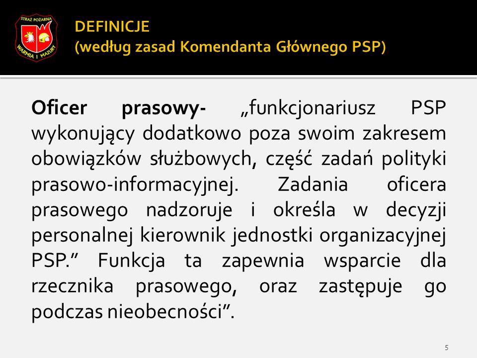"""Oficer prasowy- """"funkcjonariusz PSP wykonujący dodatkowo poza swoim zakresem obowiązków służbowych, część zadań polityki prasowo-informacyjnej."""