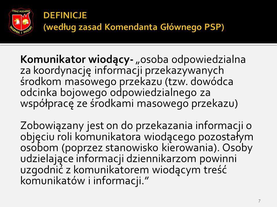 """Komunikator wiodący- """"osoba odpowiedzialna za koordynację informacji przekazywanych środkom masowego przekazu (tzw."""