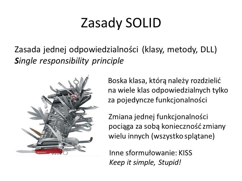 Zasady SOLID Zasada jednej odpowiedzialności (klasy, metody, DLL) Single responsibility principle Boska klasa, którą należy rozdzielić na wiele klas odpowiedzialnych tylko za pojedyncze funkcjonalności Inne sformułowanie: KISS Keep it simple, Stupid.
