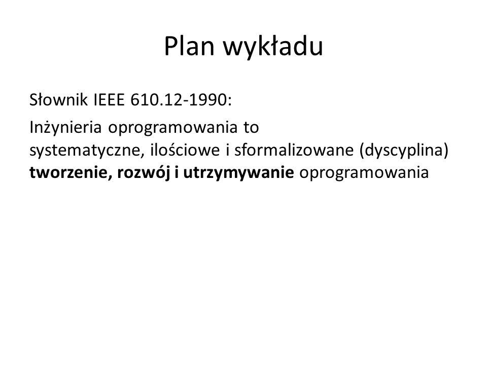 Plan wykładu Słownik IEEE 610.12-1990: Inżynieria oprogramowania to systematyczne, ilościowe i sformalizowane (dyscyplina) tworzenie, rozwój i utrzymywanie oprogramowania