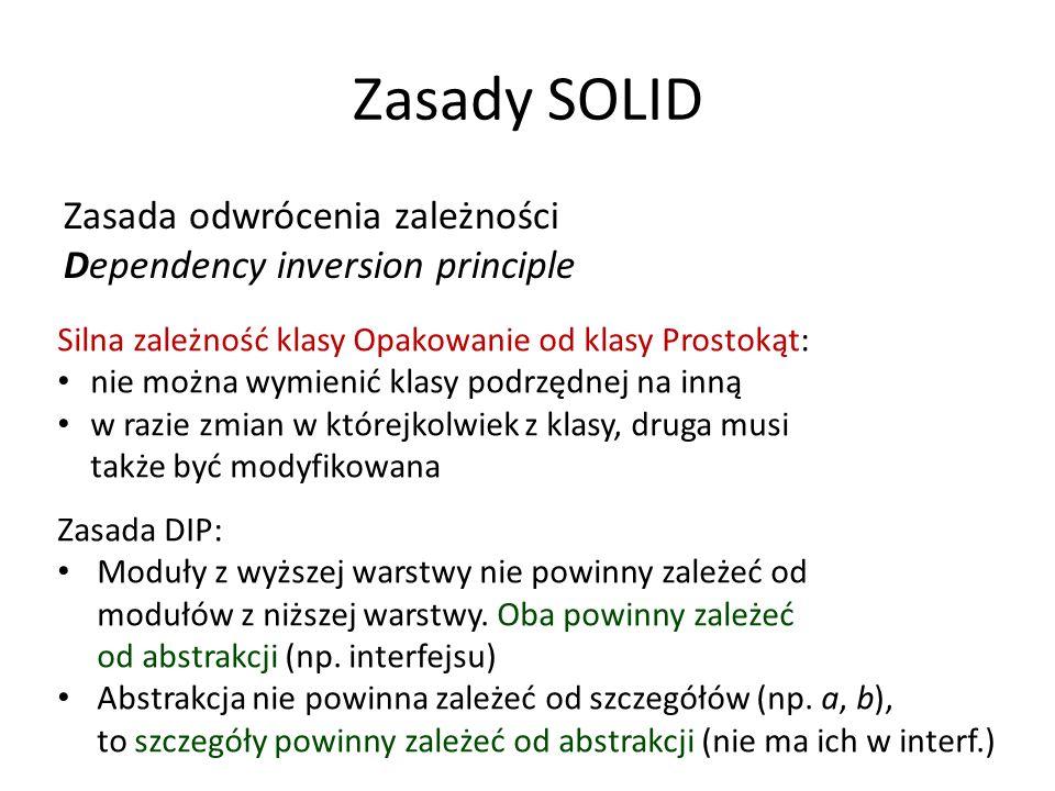 Zasady SOLID Zasada odwrócenia zależności Dependency inversion principle Silna zależność klasy Opakowanie od klasy Prostokąt: nie można wymienić klasy podrzędnej na inną w razie zmian w którejkolwiek z klasy, druga musi także być modyfikowana Zasada DIP: Moduły z wyższej warstwy nie powinny zależeć od modułów z niższej warstwy.