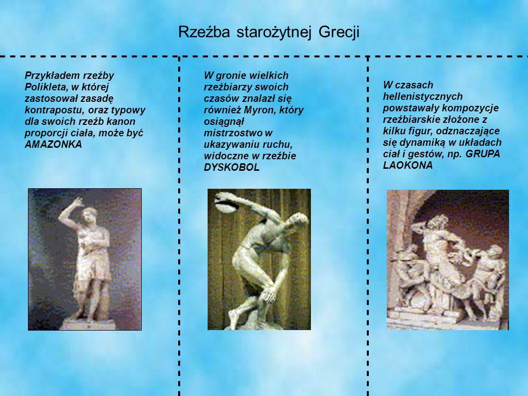 Rzeźba starożytnej Grecji Przykładem rzeźby Polikleta, w której zastosował zasadę kontrapostu, oraz typowy dla swoich rzeźb kanon proporcji ciała, moż