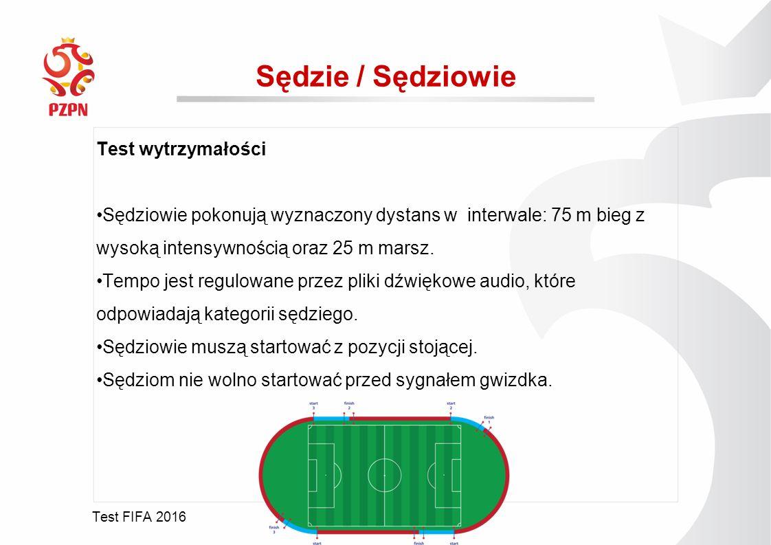 Test FIFA 2016 Sędzie / Sędziowie Test wytrzymałości Sędziowie pokonują wyznaczony dystans w interwale: 75 m bieg z wysoką intensywnością oraz 25 m marsz.