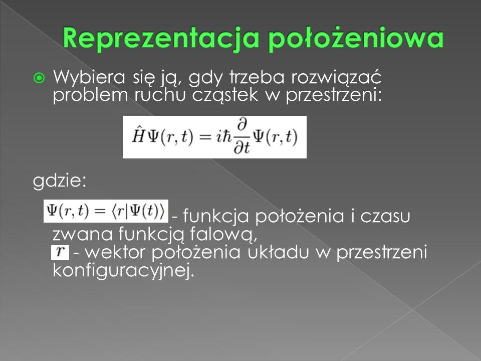  Wybiera się ją, gdy trzeba rozwiązać problem ruchu cząstek w przestrzeni: gdzie: - funkcja położenia i czasu zwana funkcją falową, - wektor położenia układu w przestrzeni konfiguracyjnej.