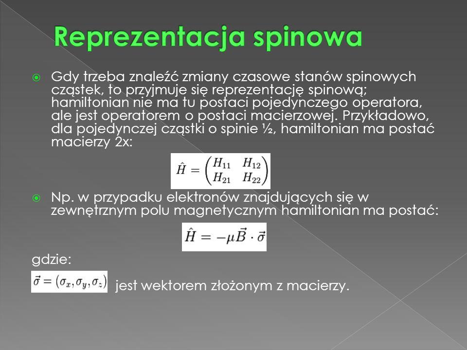  Gdy trzeba znaleźć zmiany czasowe stanów spinowych cząstek, to przyjmuje się reprezentację spinową; hamiltonian nie ma tu postaci pojedynczego operatora, ale jest operatorem o postaci macierzowej.