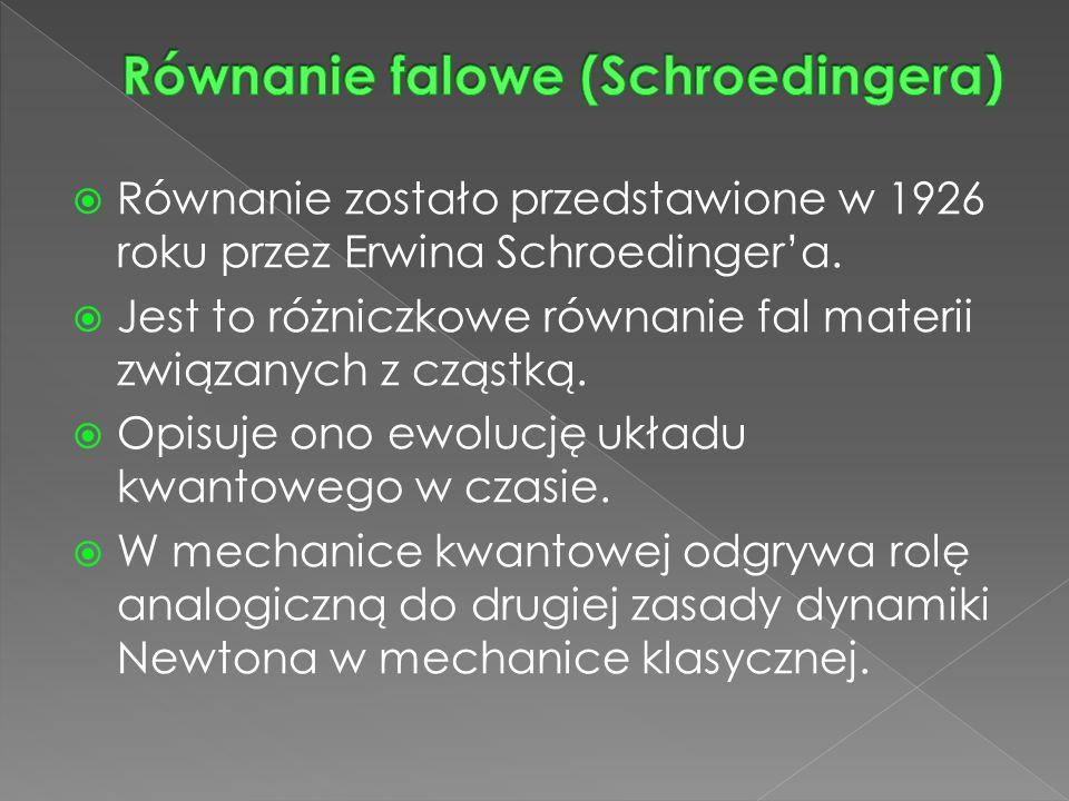  Równanie zostało przedstawione w 1926 roku przez Erwina Schroedinger'a.