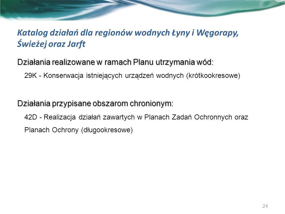 Katalog działań dla regionów wodnych Łyny i Węgorapy, Świeżej oraz Jarft Działania realizowane w ramach Planu utrzymania wód: 29K - Konserwacja istniejących urządzeń wodnych (krótkookresowe) Działania przypisane obszarom chronionym: 42D - Realizacja działań zawartych w Planach Zadań Ochronnych oraz Planach Ochrony (długookresowe) 24