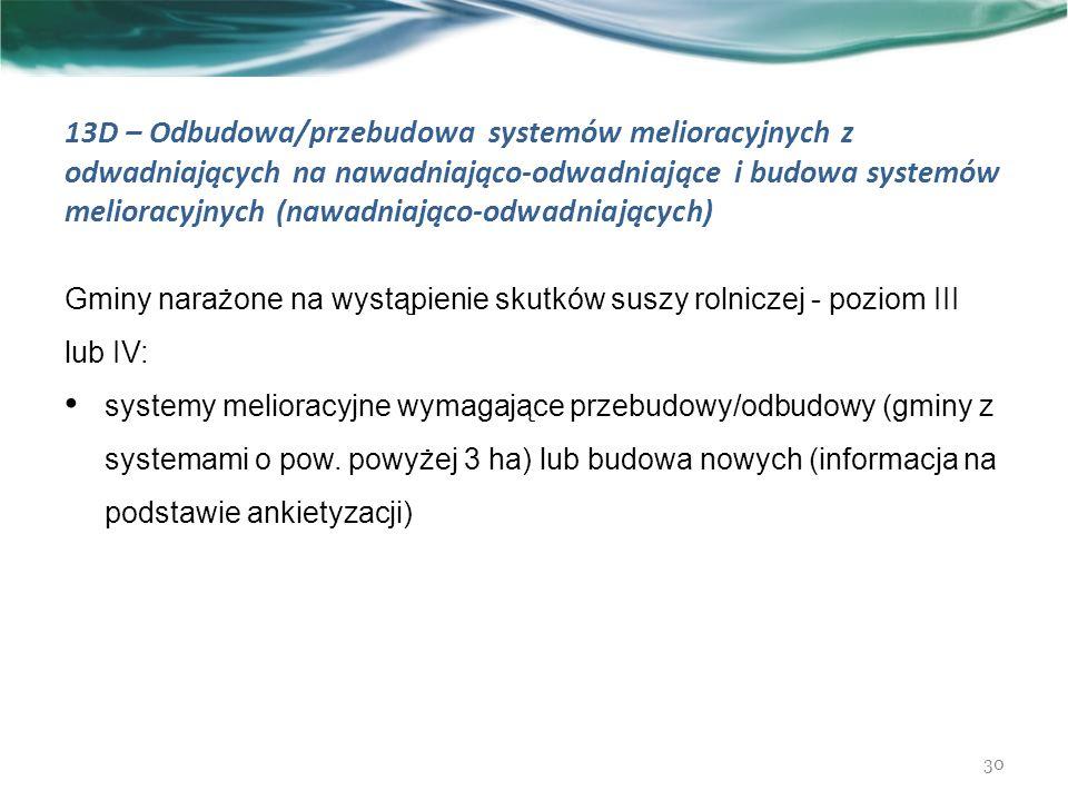 13D – Odbudowa/przebudowa systemów melioracyjnych z odwadniających na nawadniająco-odwadniające i budowa systemów melioracyjnych (nawadniająco-odwadniających) 30 Gminy narażone na wystąpienie skutków suszy rolniczej - poziom III lub IV: systemy melioracyjne wymagające przebudowy/odbudowy (gminy z systemami o pow.