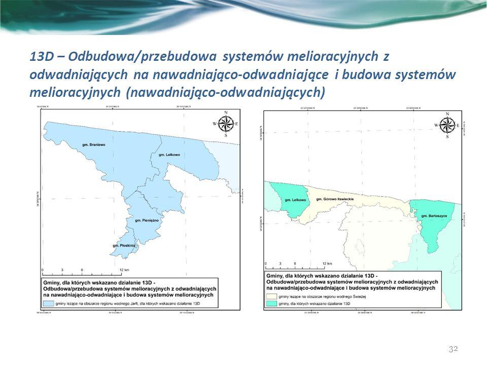 13D – Odbudowa/przebudowa systemów melioracyjnych z odwadniających na nawadniająco-odwadniające i budowa systemów melioracyjnych (nawadniająco-odwadniających) 32