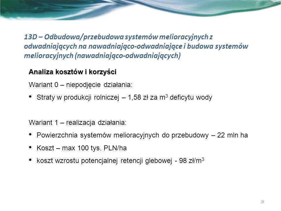 13D – Odbudowa/przebudowa systemów melioracyjnych z odwadniających na nawadniająco-odwadniające i budowa systemów melioracyjnych (nawadniająco-odwadniających) 51 Analiza kosztów i korzyści Wariant 0 – niepodjęcie działania: Straty w produkcji rolniczej – 1,58 zł za m 3 deficytu wody Wariant 1 – realizacja działania: Powierzchnia systemów melioracyjnych do przebudowy – 22 mln ha Koszt – max 100 tys.