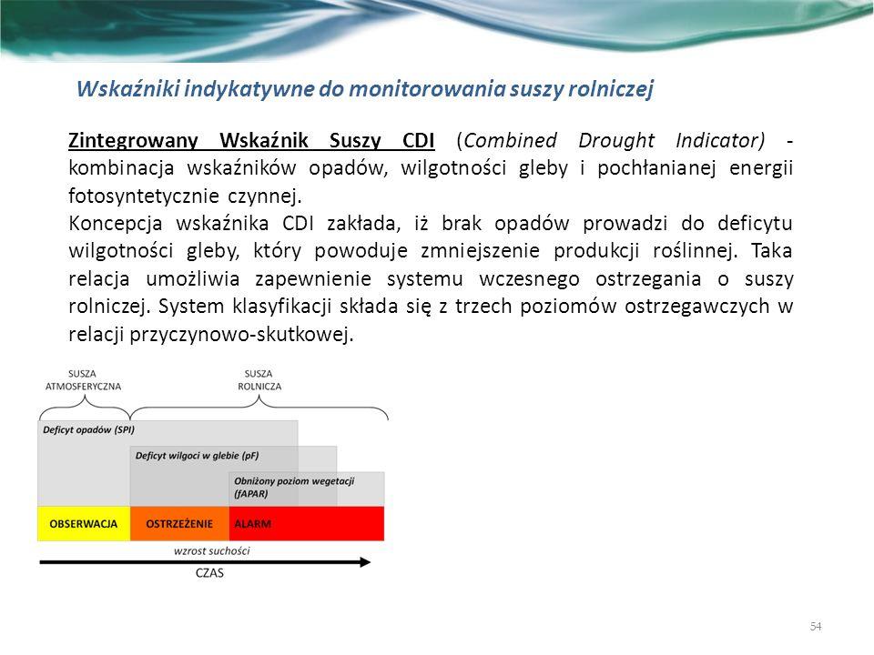 54 Zintegrowany Wskaźnik Suszy CDI (Combined Drought Indicator) - kombinacja wskaźników opadów, wilgotności gleby i pochłanianej energii fotosyntetycznie czynnej.