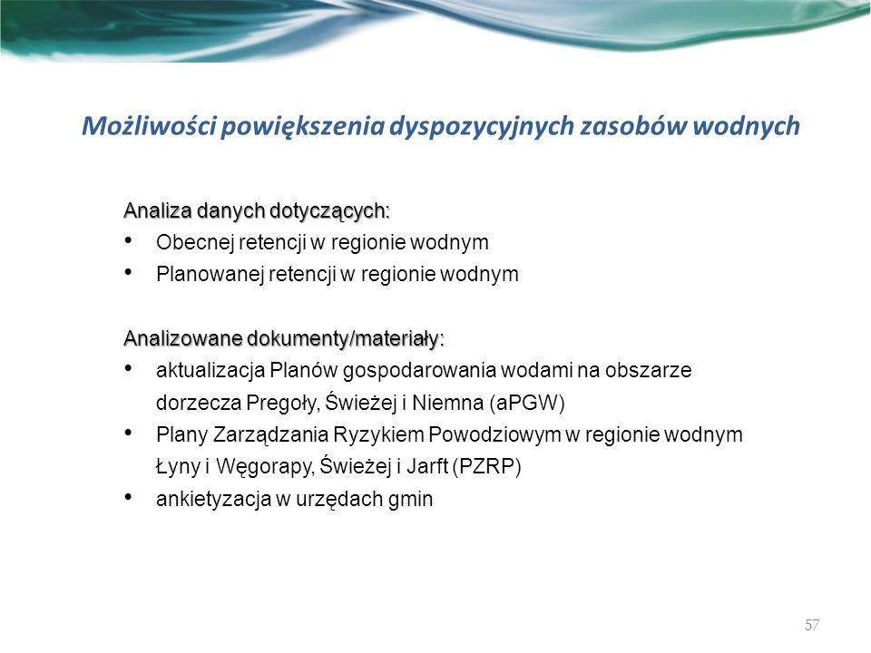 Możliwości powiększenia dyspozycyjnych zasobów wodnych 57 Analiza danych dotyczących: Obecnej retencji w regionie wodnym Planowanej retencji w regionie wodnym Analizowane dokumenty/materiały: aktualizacja Planów gospodarowania wodami na obszarze dorzecza Pregoły, Świeżej i Niemna (aPGW) Plany Zarządzania Ryzykiem Powodziowym w regionie wodnym Łyny i Węgorapy, Świeżej i Jarft (PZRP) ankietyzacja w urzędach gmin