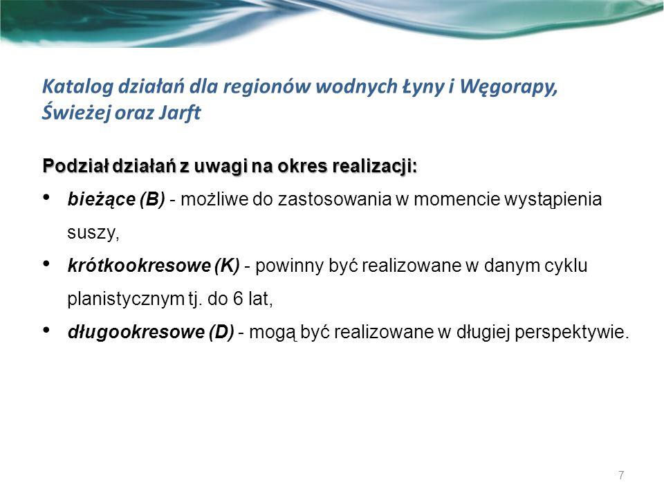 Możliwości powiększenia dyspozycyjnych zasobów wodnych 58 Region wodny Łyny i Węgorapy Liczba zbiorników istniejących:34 Sumaryczna pojemność:5 982 002 tys.