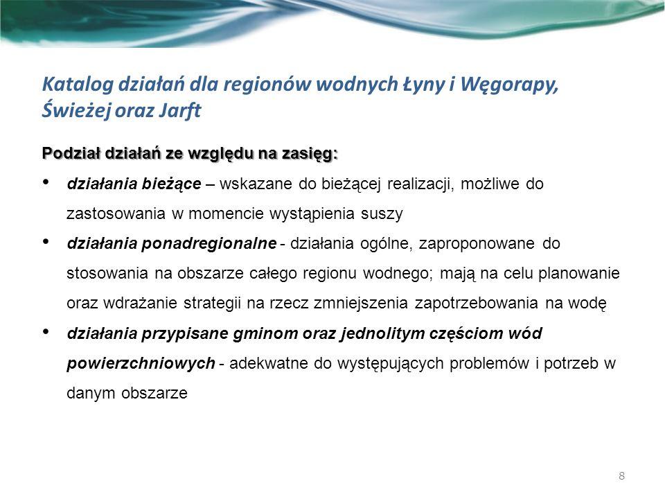 Katalog działań dla regionów wodnych Łyny i Węgorapy, Świeżej oraz Jarft Podział działań ze względu na zasięg: działania bieżące – wskazane do bieżącej realizacji, możliwe do zastosowania w momencie wystąpienia suszy działania ponadregionalne - działania ogólne, zaproponowane do stosowania na obszarze całego regionu wodnego; mają na celu planowanie oraz wdrażanie strategii na rzecz zmniejszenia zapotrzebowania na wodę działania przypisane gminom oraz jednolitym częściom wód powierzchniowych - adekwatne do występujących problemów i potrzeb w danym obszarze 8