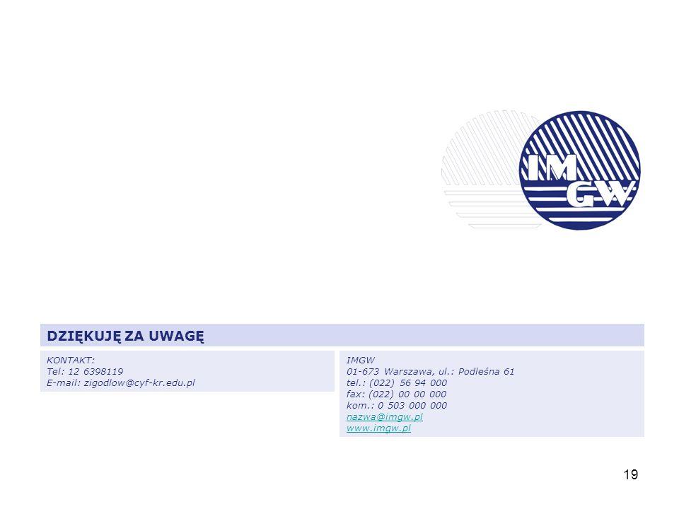 19 DZIĘKUJĘ ZA UWAGĘ KONTAKT: Tel: 12 6398119 E-mail: zigodlow@cyf-kr.edu.pl IMGW 01-673 Warszawa, ul.: Podleśna 61 tel.: (022) 56 94 000 fax: (022) 0