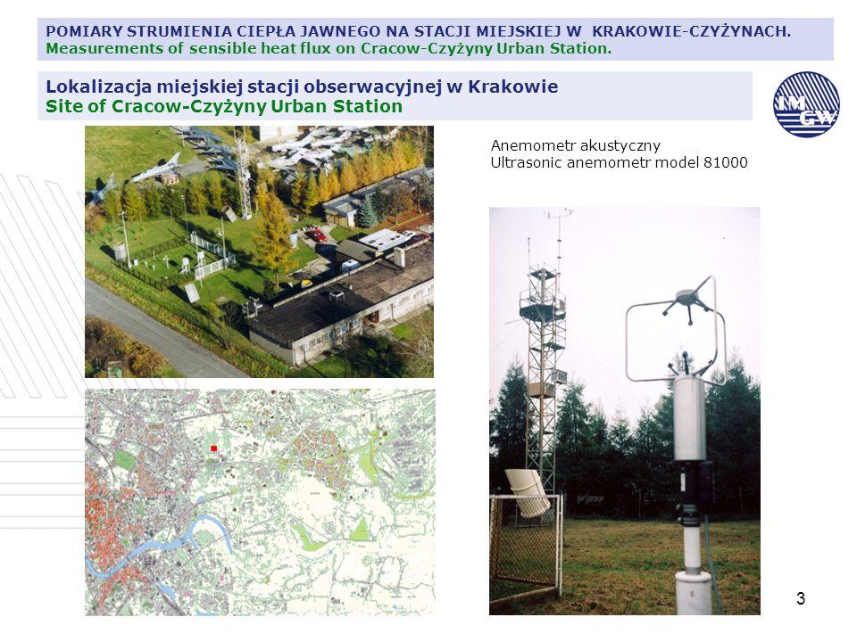 3 POMIARY STRUMIENIA CIEPŁA JAWNEGO NA STACJI MIEJSKIEJ W KRAKOWIE-CZYŻYNACH. Measurements of sensible heat flux on Cracow-Czyżyny Urban Station. Anem