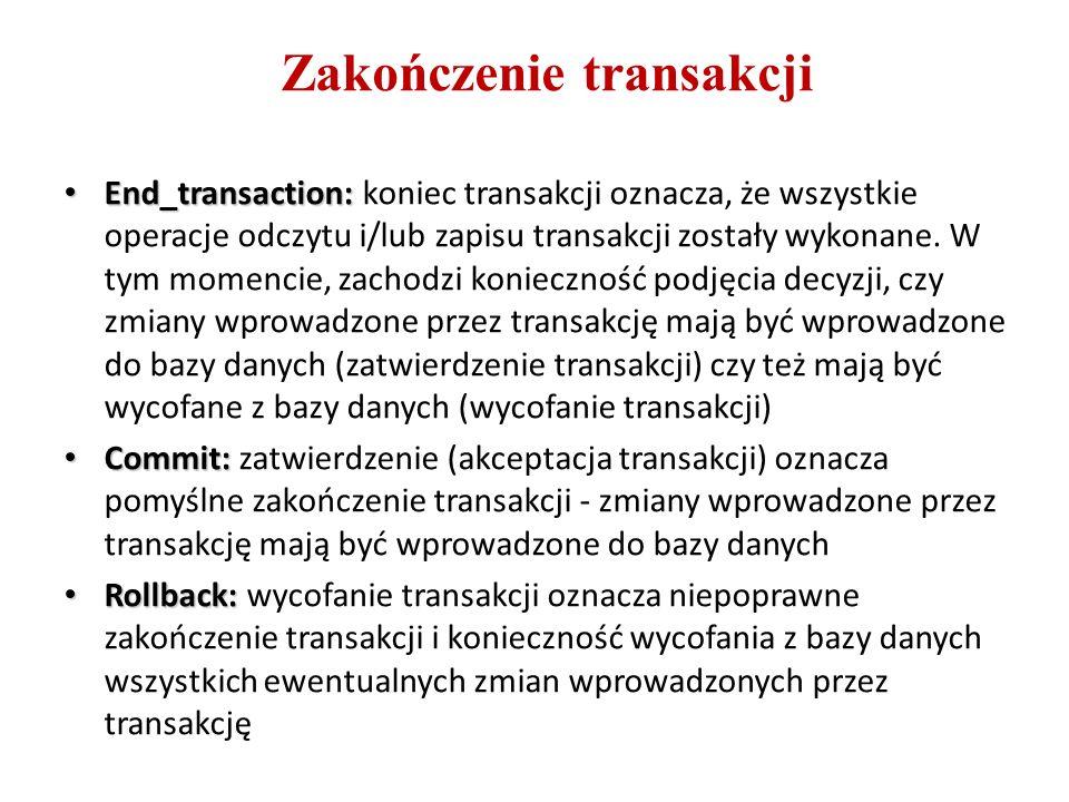 Zakończenie transakcji End_transaction: End_transaction: koniec transakcji oznacza, że wszystkie operacje odczytu i/lub zapisu transakcji zostały wyko