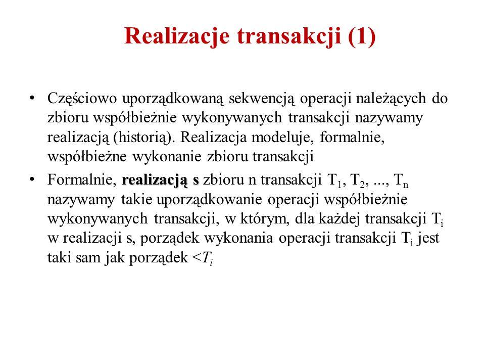 Realizacje transakcji (1) Częściowo uporządkowaną sekwencją operacji należących do zbioru współbieżnie wykonywanych transakcji nazywamy realizacją (historią).