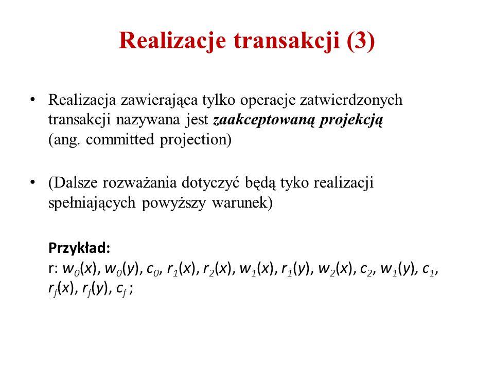 Realizacje transakcji (3) Realizacja zawierająca tylko operacje zatwierdzonych transakcji nazywana jest zaakceptowaną projekcją (ang. committed projec