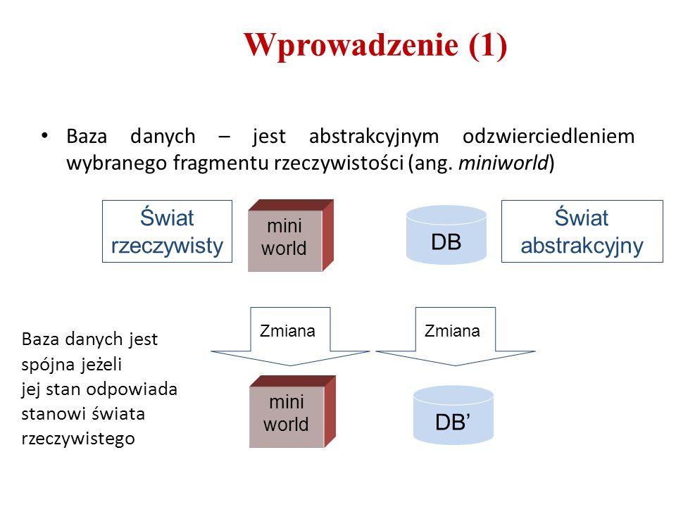 Wprowadzenie (1) Baza danych – jest abstrakcyjnym odzwierciedleniem wybranego fragmentu rzeczywistości (ang. miniworld) mini world DB DB' Świat rzeczy