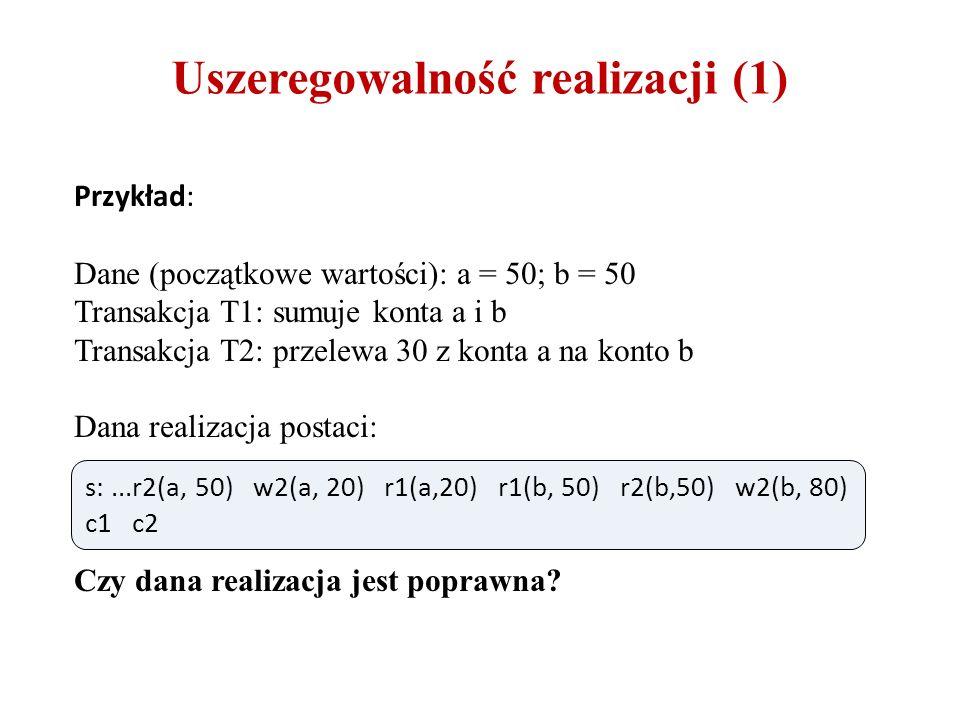 Uszeregowalność realizacji (1) Przykład: Dane (początkowe wartości): a = 50; b = 50 Transakcja T1: sumuje konta a i b Transakcja T2: przelewa 30 z kon