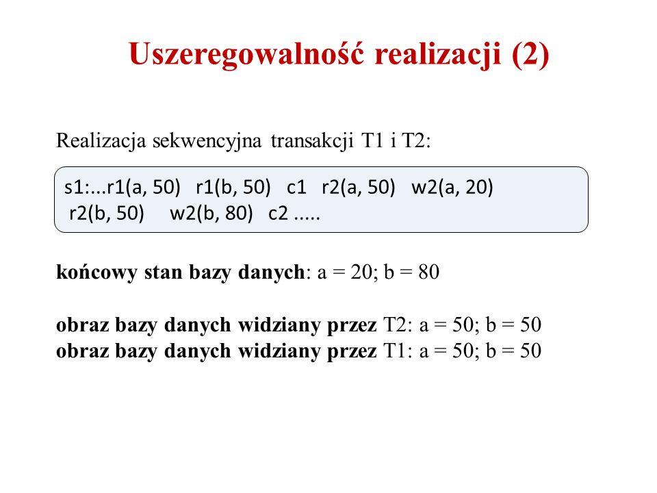 Uszeregowalność realizacji (2) Realizacja sekwencyjna transakcji T1 i T2: końcowy stan bazy danych: a = 20; b = 80 obraz bazy danych widziany przez T2