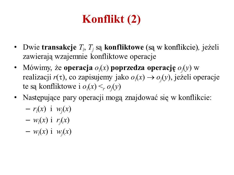 Konflikt (2) (są w konflikcie) Dwie transakcje T i, T j są konfliktowe (są w konflikcie), jeżeli zawierają wzajemnie konfliktowe operacje Mówimy, że operacja o i (x) poprzedza operację o j (y) w realizacji r(  ), co zapisujemy jako o i (x)  o j (y), jeżeli operacje te są konfliktowe i o i (x) < r o j (y) Następujące pary operacji mogą znajdować się w konflikcie: – r i (x) i w j (x) – w i (x) i r j (x) – w i (x) i w j (x)