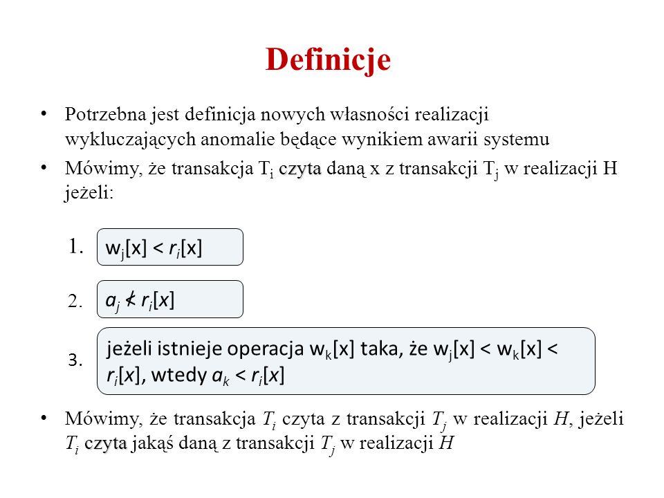 Definicje Potrzebna jest definicja nowych własności realizacji wykluczających anomalie będące wynikiem awarii systemu czyta Mówimy, że transakcja T i czyta daną x z transakcji T j w realizacji H jeżeli: 1.