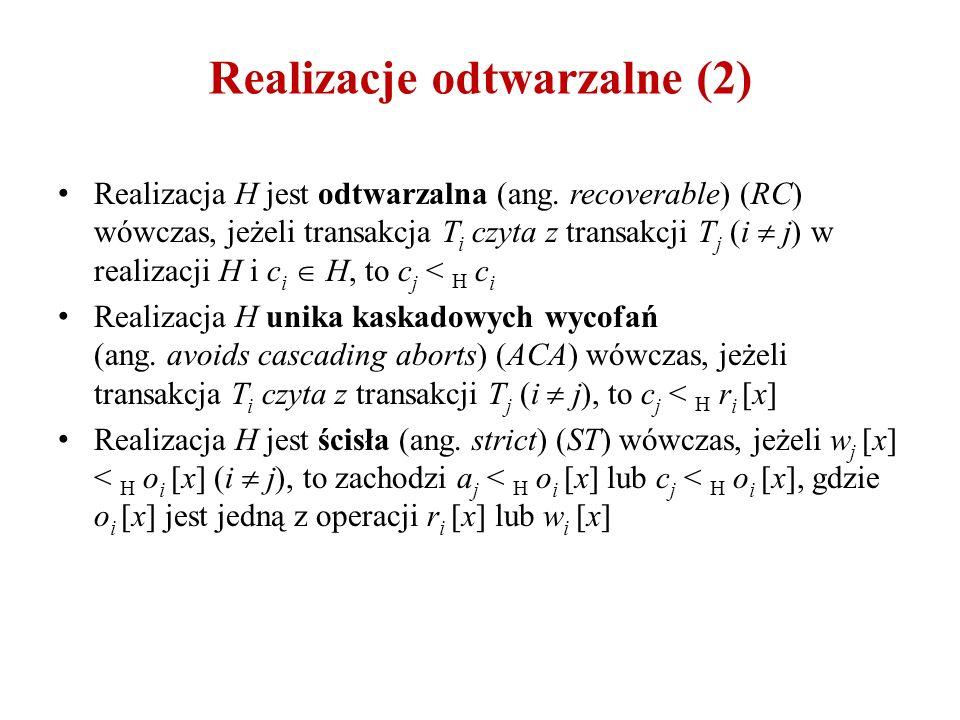 Realizacje odtwarzalne (2) Realizacja H jest odtwarzalna (ang. recoverable) (RC) wówczas, jeżeli transakcja T i czyta z transakcji T j (i  j) w reali