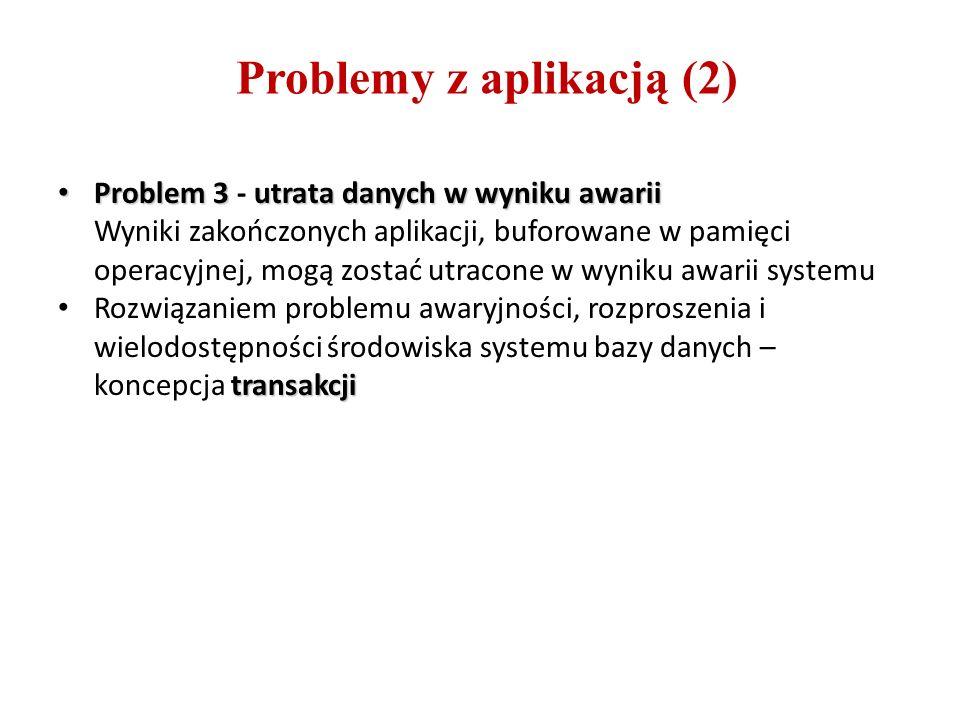 Problemy z aplikacją (2) Problem 3utrata danych w wyniku awarii Problem 3 - utrata danych w wyniku awarii Wyniki zakończonych aplikacji, buforowane w pamięci operacyjnej, mogą zostać utracone w wyniku awarii systemu transakcji Rozwiązaniem problemu awaryjności, rozproszenia i wielodostępności środowiska systemu bazy danych – koncepcja transakcji