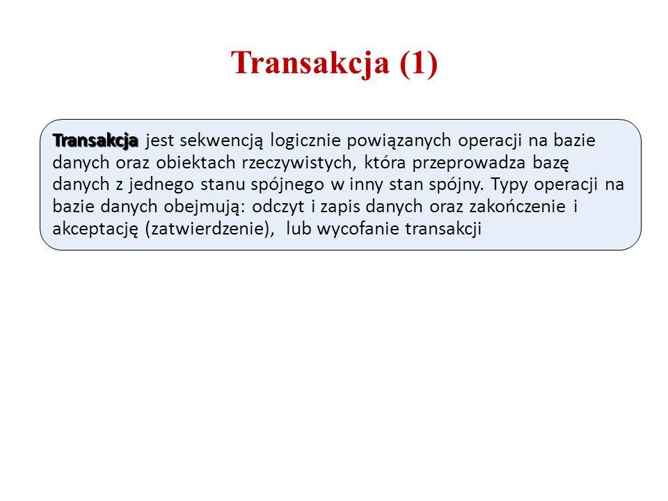Transakcja (1) Transakcja Transakcja jest sekwencją logicznie powiązanych operacji na bazie danych oraz obiektach rzeczywistych, która przeprowadza ba