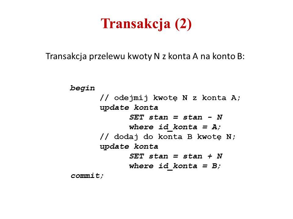Transakcja (2) begin // odejmij kwotę N z konta A; update konta SET stan = stan - N where id_konta = A; // dodaj do konta B kwotę N; update konta SET stan = stan + N where id_konta = B; commit; Transakcja przelewu kwoty N z konta A na konto B: