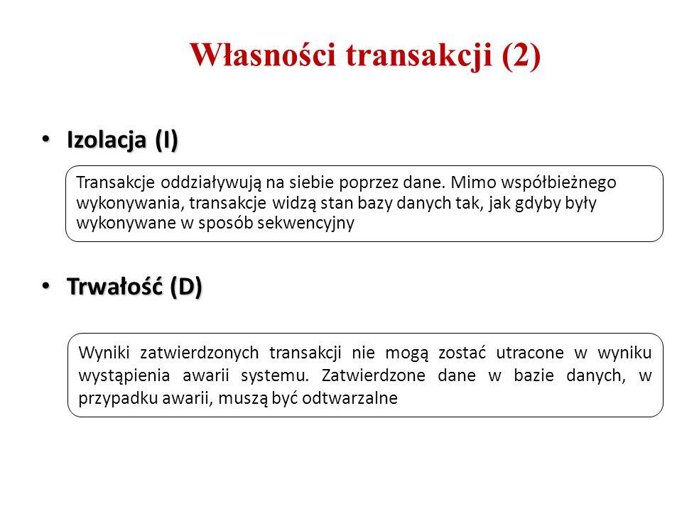 Własności transakcji (2) Izolacja (I) Izolacja (I) Trwałość (D) Trwałość (D) Transakcje oddziaływują na siebie poprzez dane. Mimo współbieżnego wykony