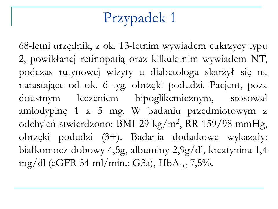 a)Nefropatia cukrzycowa b)Ogniskowe i segmentalne stwardnienie kłębuszków nerkowych c)Błoniaste KZN d)Błoniasto-rozplemowe KZN e)Submikroskopowe KZN Prawidłowa odpowiedź to: a.b.