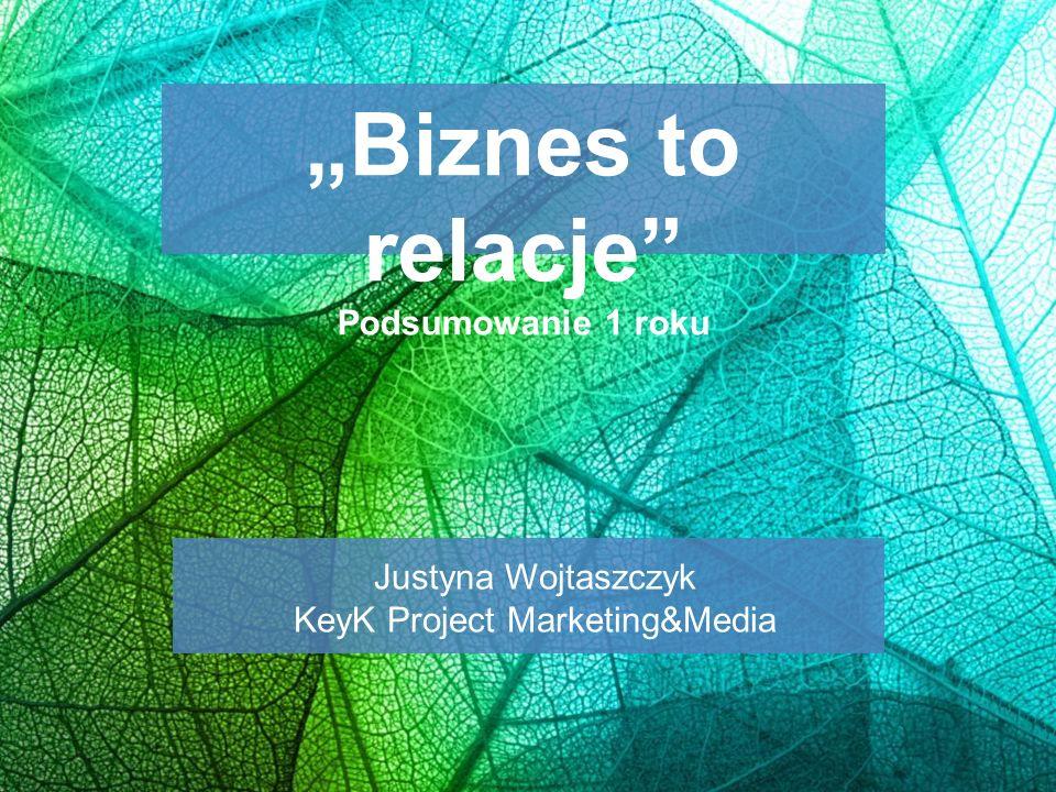 """""""Biznes to relacje"""" Podsumowanie 1 roku Justyna Wojtaszczyk KeyK Project Marketing&Media"""